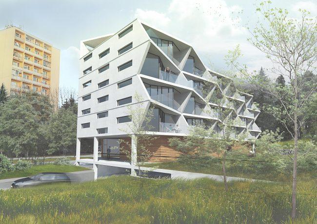 f0e0d97695 Maximálna zastavanosť pozemku je 55% a podiel zelene 35% jeho výmery.  Bytový dom by mal byť v zmysle platnej ÚPD kompaktným blokom.